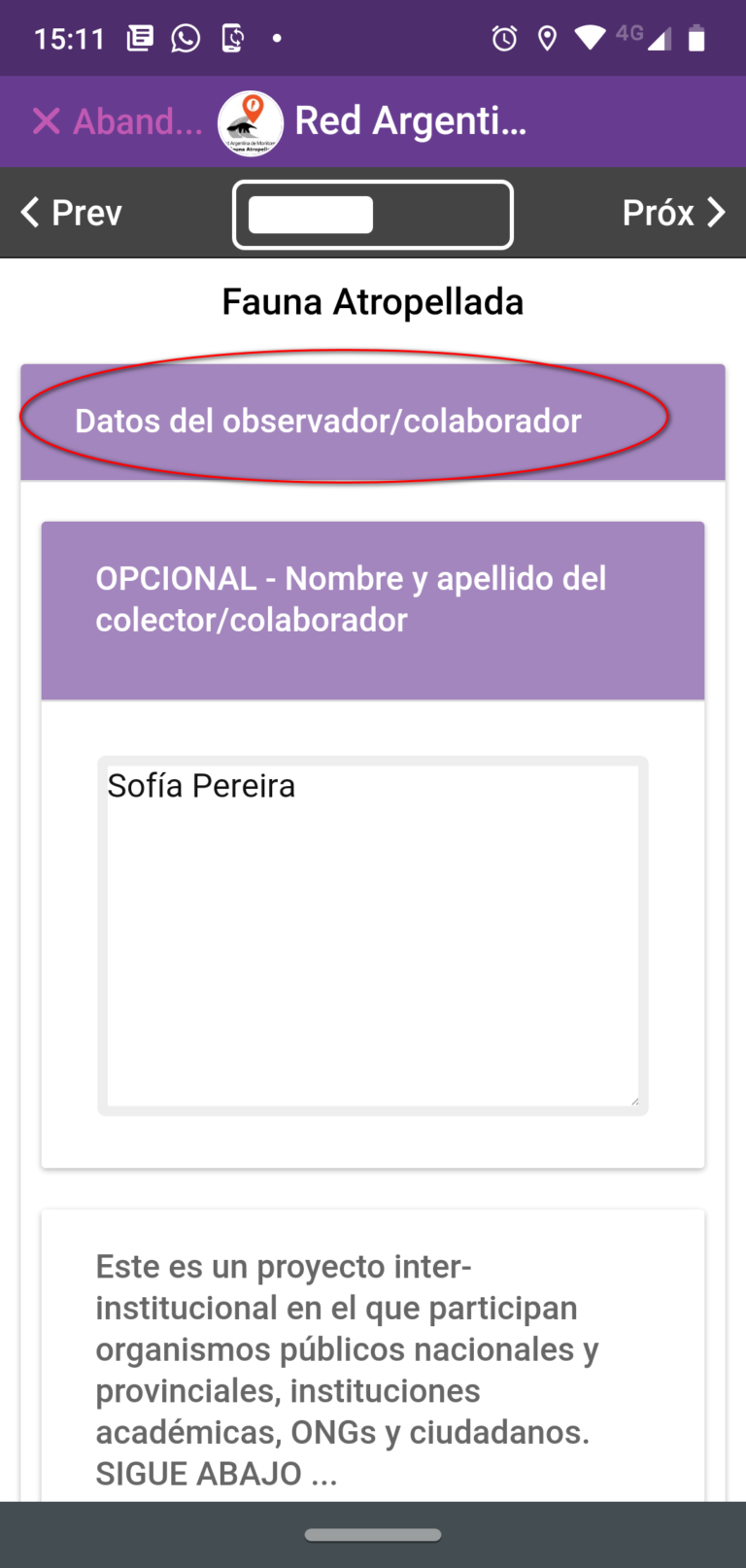 14- Ingresa datos del colector del dato (recomendado)