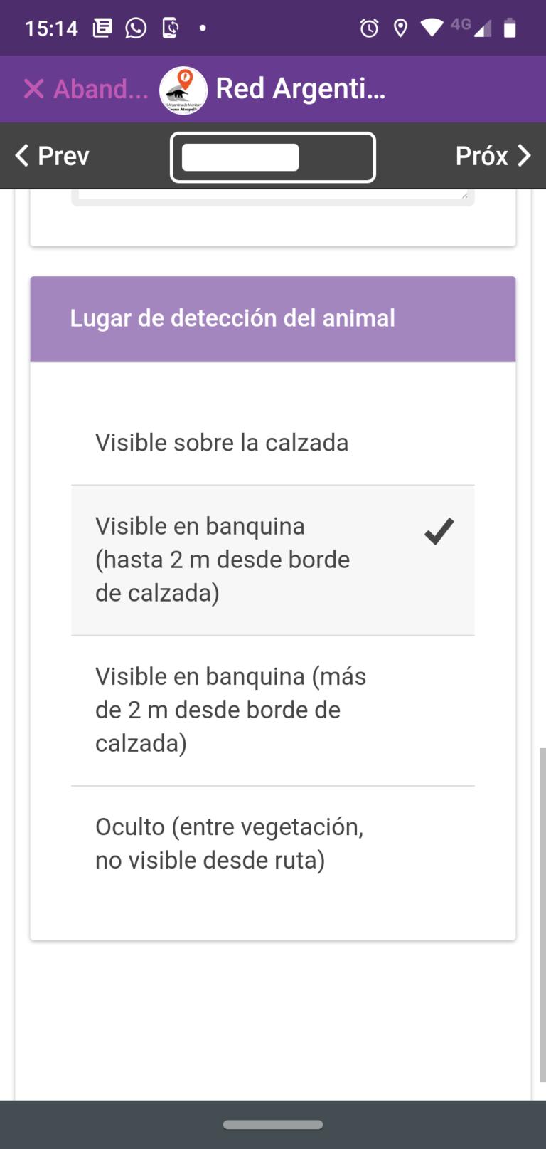 20- Ubicación del animal con respecto a la ruta