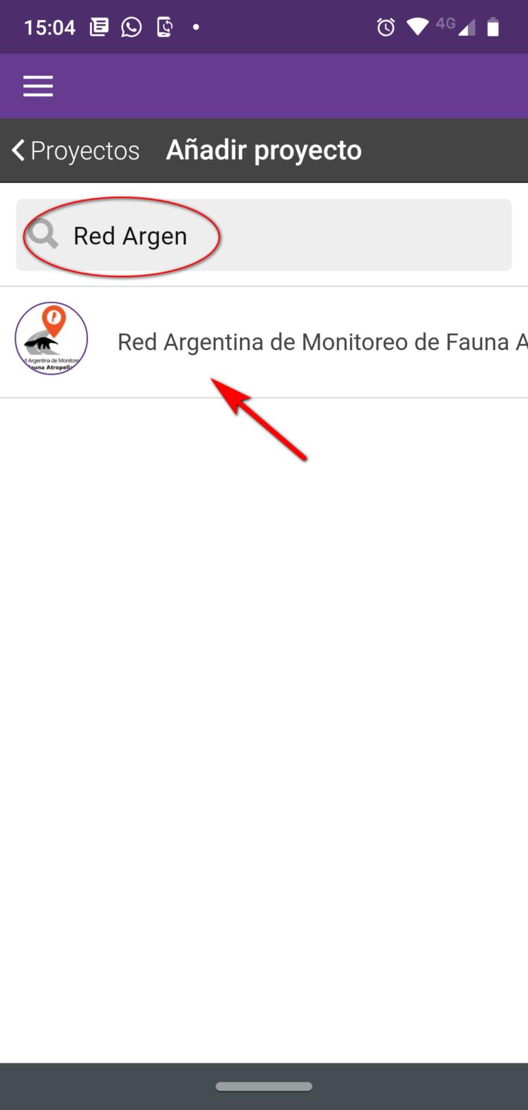 3- Buscar proyecto Red Argentina de Monitoreo de Fauna Atropellada